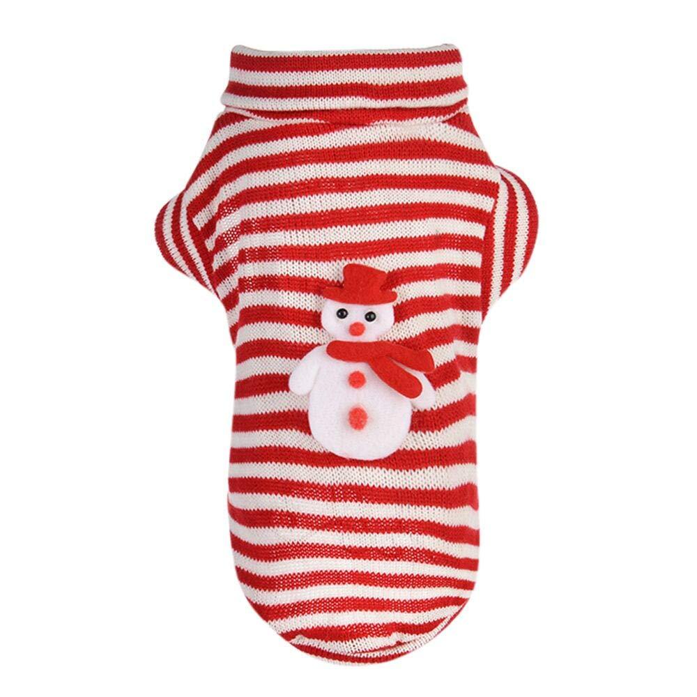 abcnature Christmas Puppy Striped Sweater Comfortable Pet Clothes Festival Snowman Shirt Coat Winter Warm