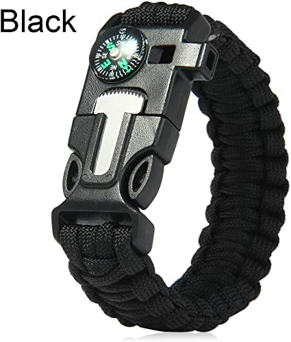 whistle compass knife Survival bracelet in black military paracord 5in1 ligh