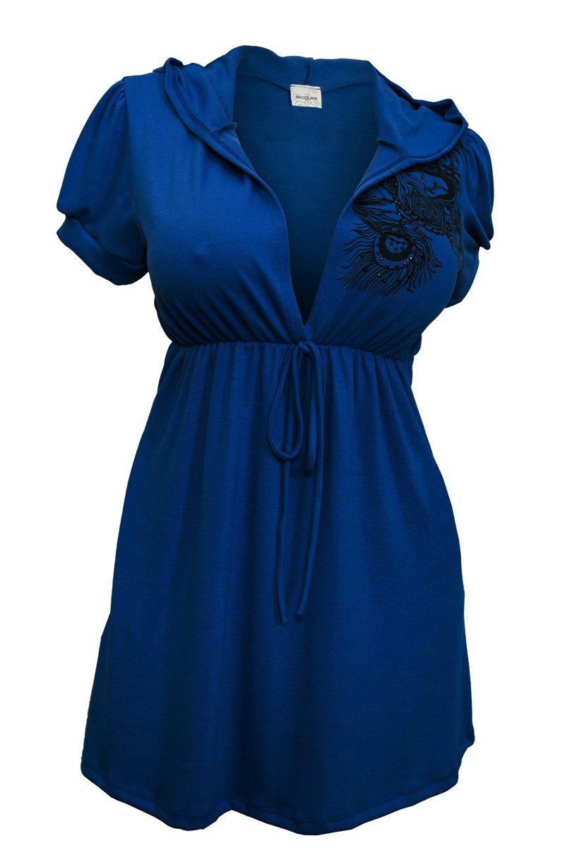 eVogues Plus size Blue Low cut v-neck Hoodie top - 5X