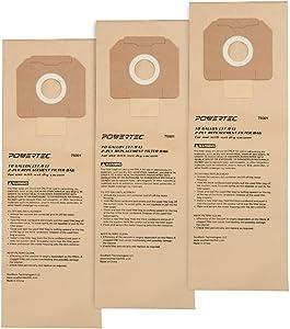 POWERTEC 75001 10-Gallon High Efficiency Filter Bags for DeWalt D27904/ Porter-Cable 7812 Dust Extractors, 3 PK