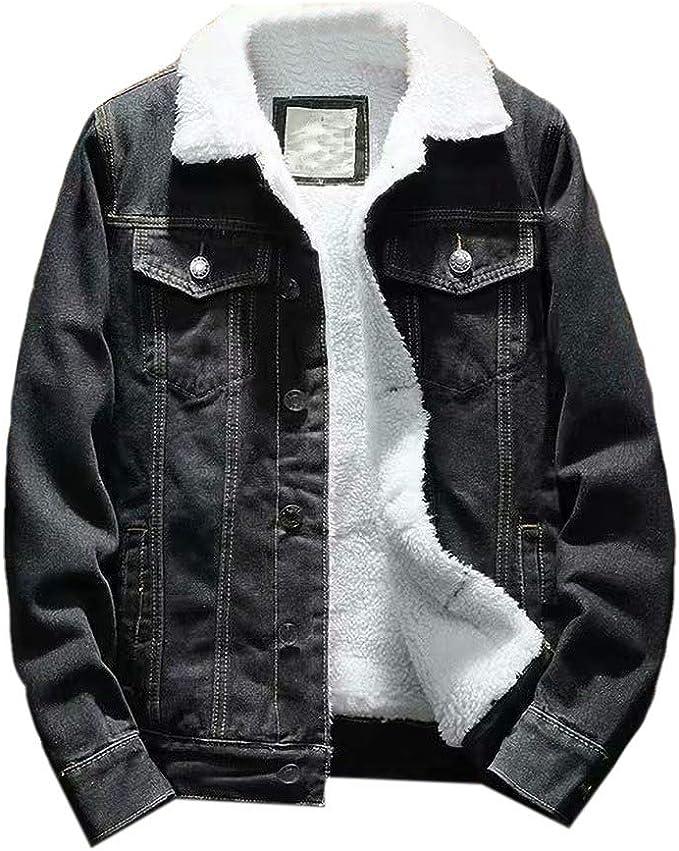 Wilngo Mens Fleece Lined Lapel Slim Fit Button Front Sherpa Denim Jacket Coat Outerwear