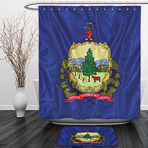 Vipsung Shower Curtain And Ground MatAmerican Decor Collection Vermont Flag States Coat of Arms and Motto on a Field of Azure Geography Image Navy Green MagentaShower Curtain Set with Bath Mats Rugs