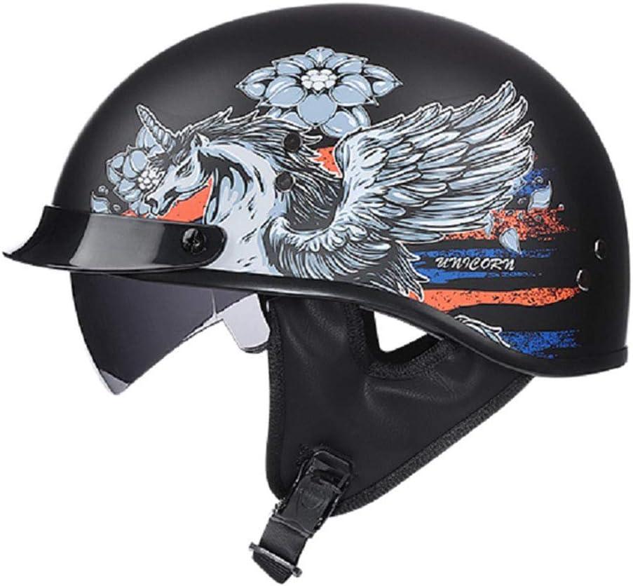 RTGE Motocicleta Casco Medio Abierto con Gafas certificación Dot Cruiser Chopper Moto Mofa Locomotora Personalidad Scoop Casco Abierto Equilibrio Seguridad Deportiva (3 Estilos),Pegasus,63~64cm XXL