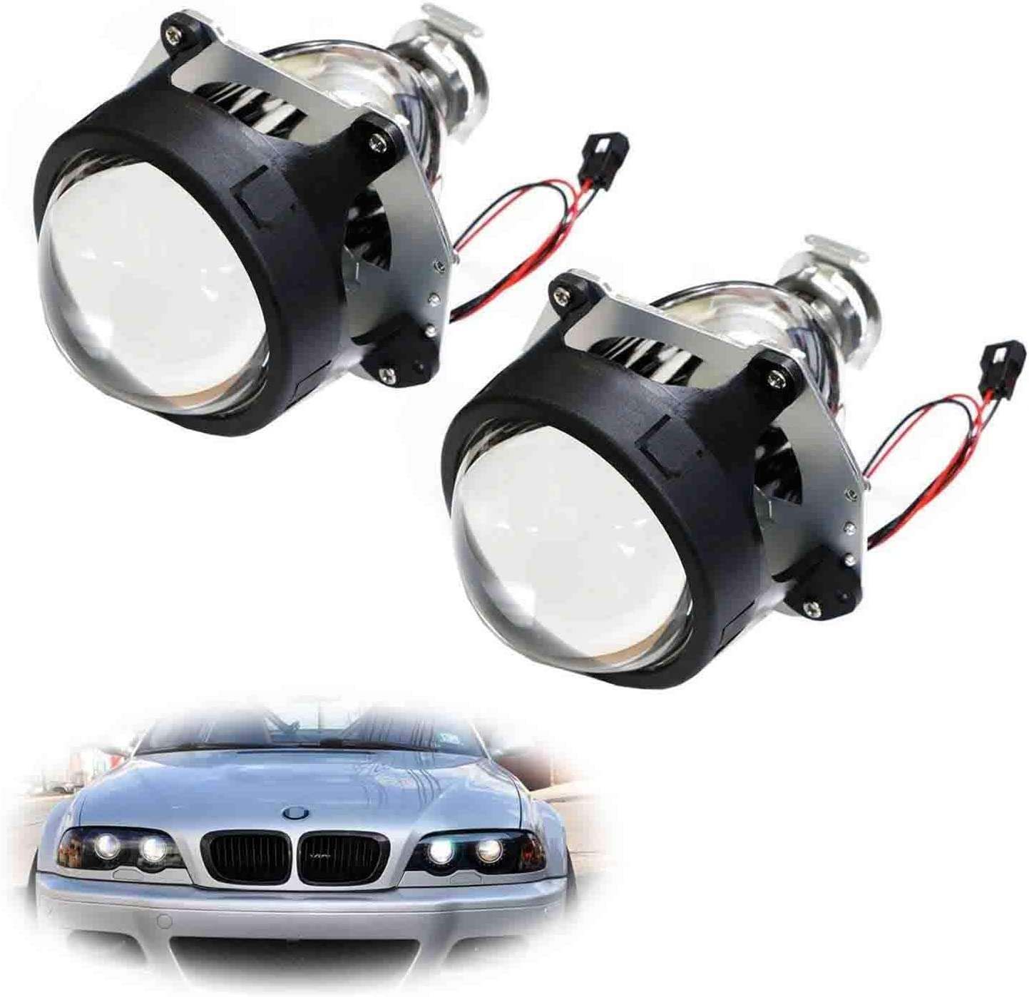 iJDMTOY (2) 3.0-Inch H1 Bi-Xenon HID Projector Lens Compatible With Headlights Retrofit, Custom Headlamps Conversion