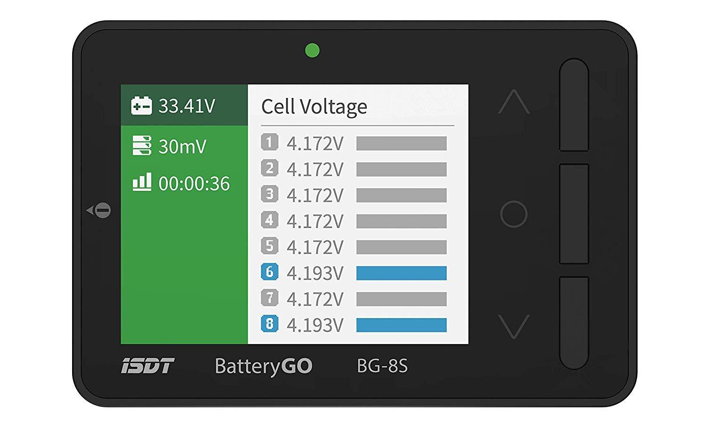 ISDT BattGo BG-8S Battery Meter, LCD Display Digital Battery Capacity Checker Battery Balancer Battery Tester for LiPo/Life/Li-ion/NiMH/Nicd by ISDT