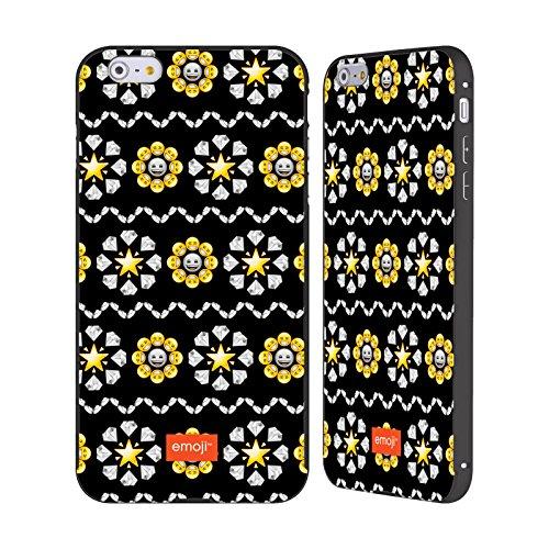 Officiel Emoji Diamants Et Étoiles Copies Assorties Noir Étui Coque Aluminium Bumper Slider pour Apple iPhone 6 Plus / 6s Plus