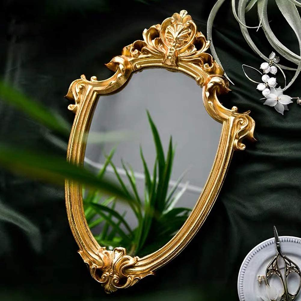 lemonadeus Vintage Decorative Wall Mirror Gold Shield Artistic Gold Wall Mirror Vintage Baroque Wall-Mounted Mirror Home Décor (13
