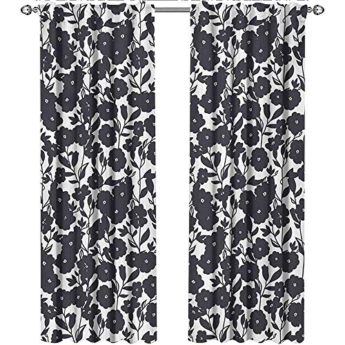 Floral, Sound Curtains Noise Reducing, Dark Charcoal Gardening Flowers Leaves and Swirls Modern Art Print Image, Curtains for Sliding Glass Door, W72 x L84 Inch, Dark Navy Blue White