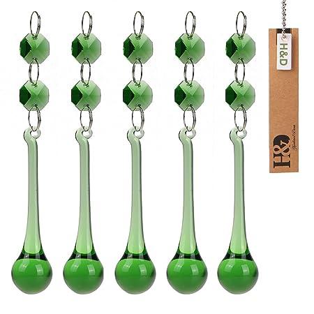 H/&D 5X Green Rain Drop Crystal Prism Lighting Part Chandelier Pendants 30*150mm