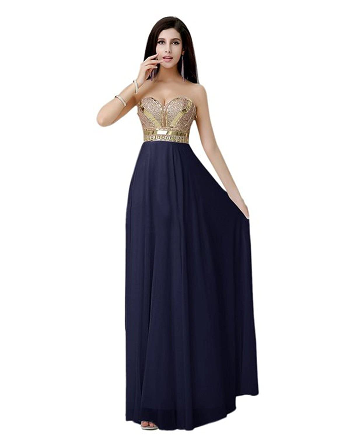 Sarahbridal Women's Long Metallic Prom Dresses Chiffon Formal Evening Party Dress with Beaded SAJ025
