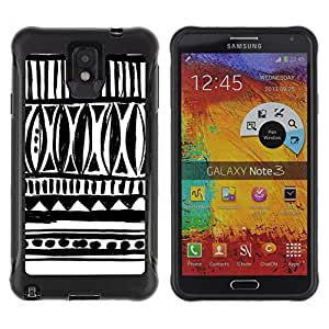 WAWU Funda Carcasa Bumper con Absorci??e Impactos y Anti-Ara??s Espalda Slim Rugged Armor -- black white native pattern Inca Indian -- Samsung Note 3