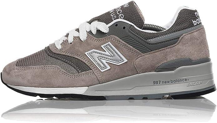 New Balance 997 de los hombres Sneakers fabricado en EE. UU., Color blanco  y gris m997gy