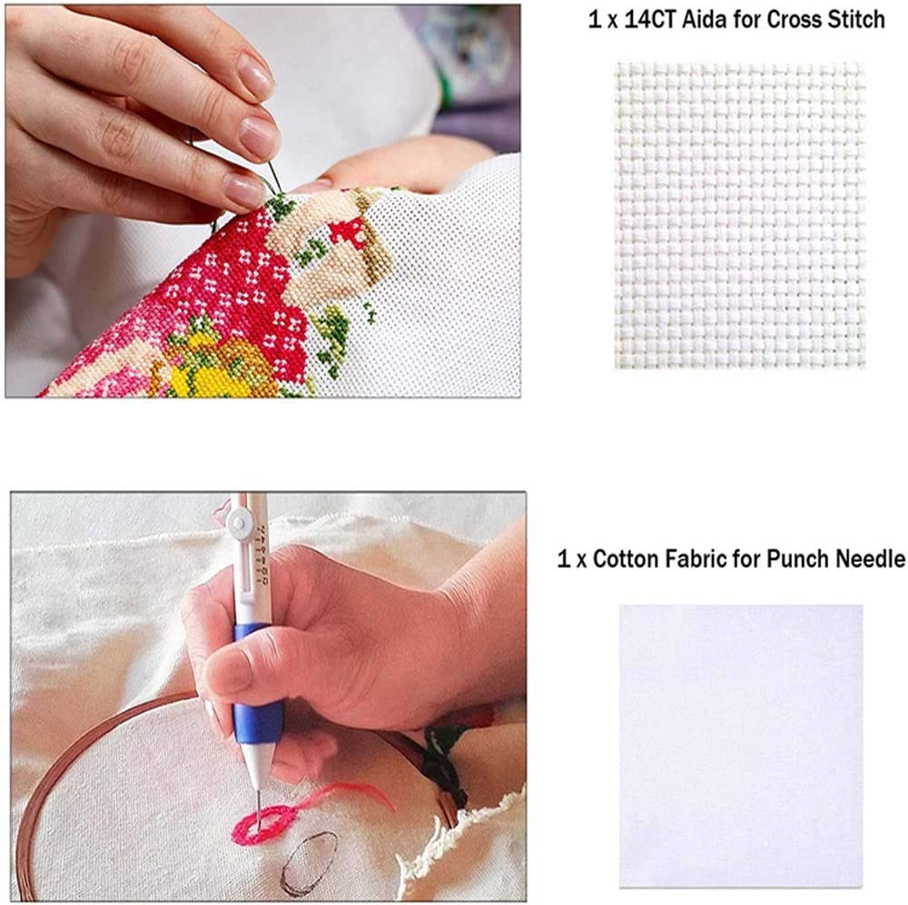 Threads 100 Colors for Sewing Knitting New 136 Pieces Embroidery Kit with Instructions Pen Punch Needle Embroidery Patterns Punch Needle Kit Craft Tool Embroidery Pen Set
