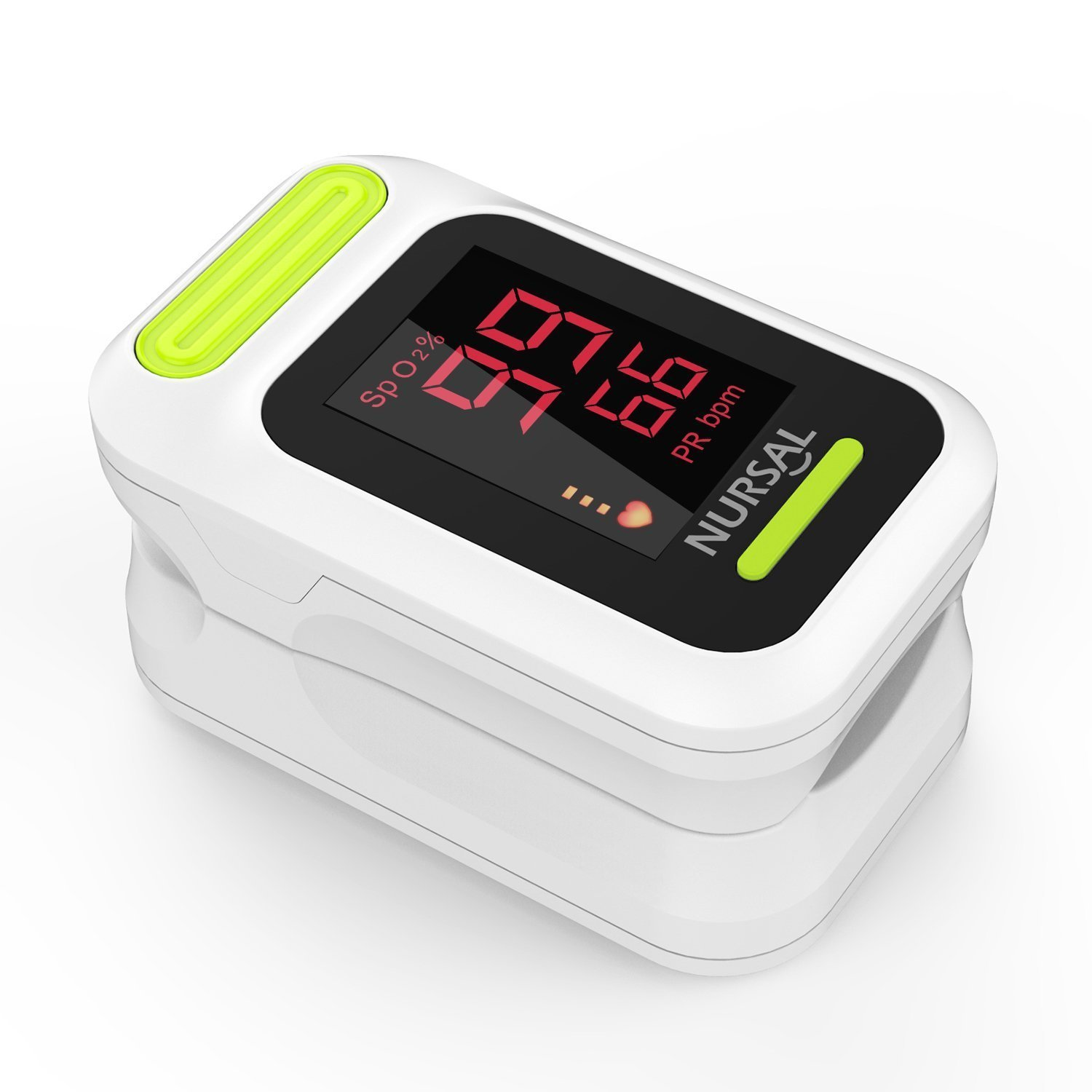 NURSAL Fingertip Pulse Oximeter Blood Oxygen Saturation Monitor with Carrying Case & Lanyard, White by NURSAL (Image #1)