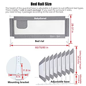 Full Queen King /& California King Bed Mattress BabyGuard Bed Rails for Toddlers 3 Side, Twin Extra Long and Tall Specially Designed for Twin