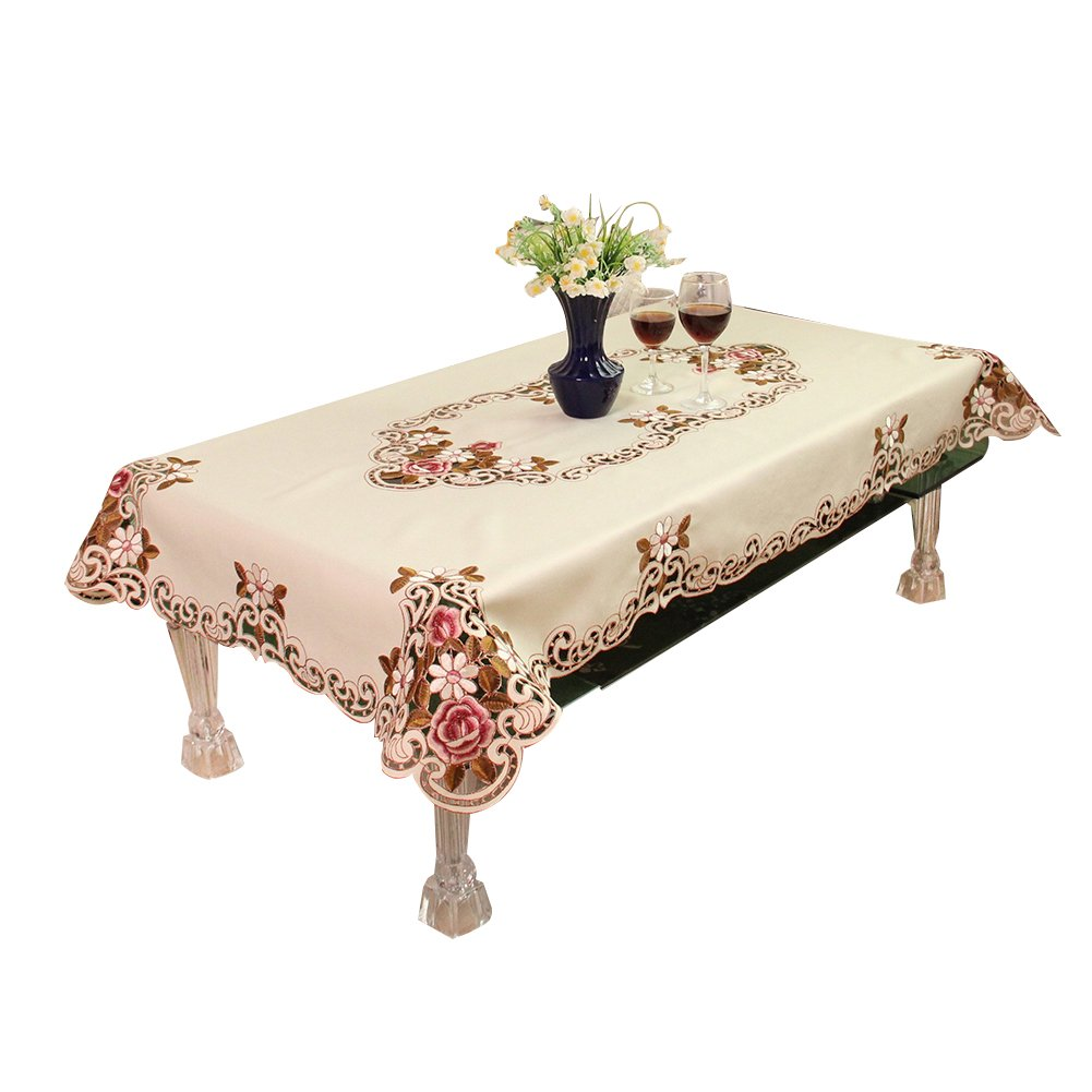 cheerfulus European Pastoral Embroidered Tablecloth Coffee Table Cloth for Home Garden Wedding Party Decoration,60x60cm