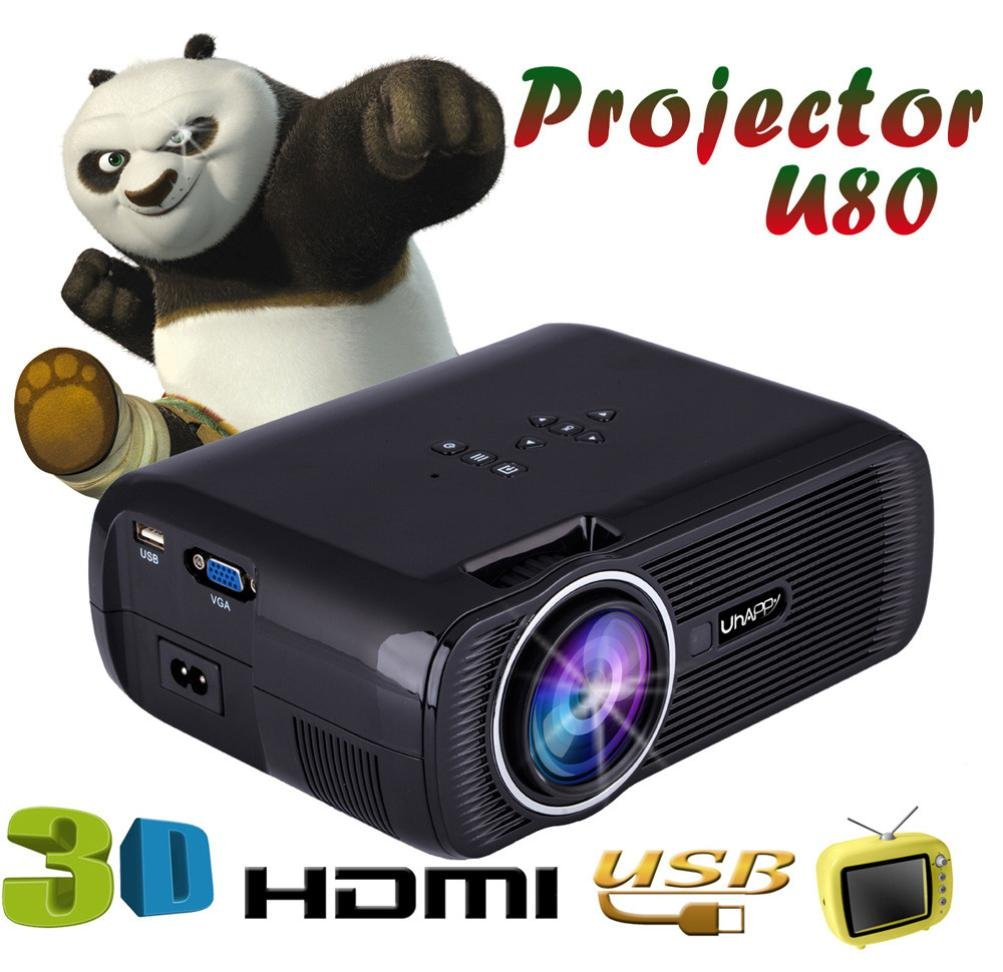 LED HD Micro Home Theater Projector ,Tuscom U80 1000lumens 1080P Multimedia Mini Portable HD Projector (Black) by Tuscom