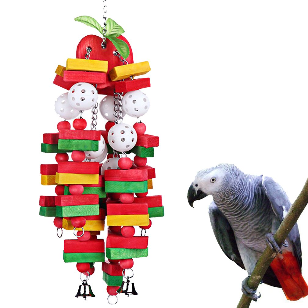 KINTOR Bird Chewing Toy Large Medium Parrot Cage Bite Toys African Grey Macaws Cockatoos Eclectus Amazon (Apple-22inch) by KINTOR