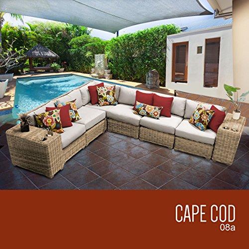 TK Classics 8 Piece Cape Cod-08A Outdoor Wicker Patio Furniture Set, Beige price