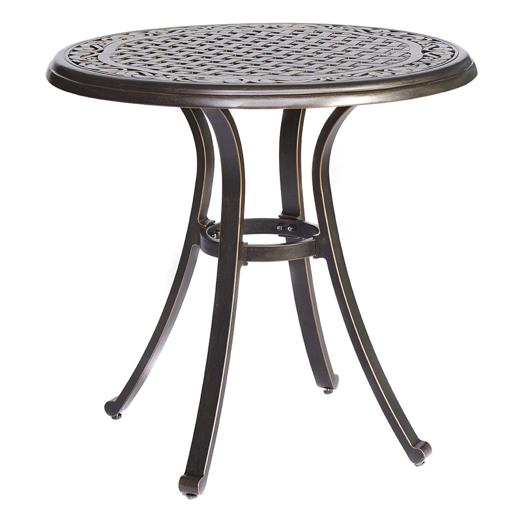 dali Bistro Table, Square Cast Aluminum Round Outdoor Patio Dining Table, 28-Inch