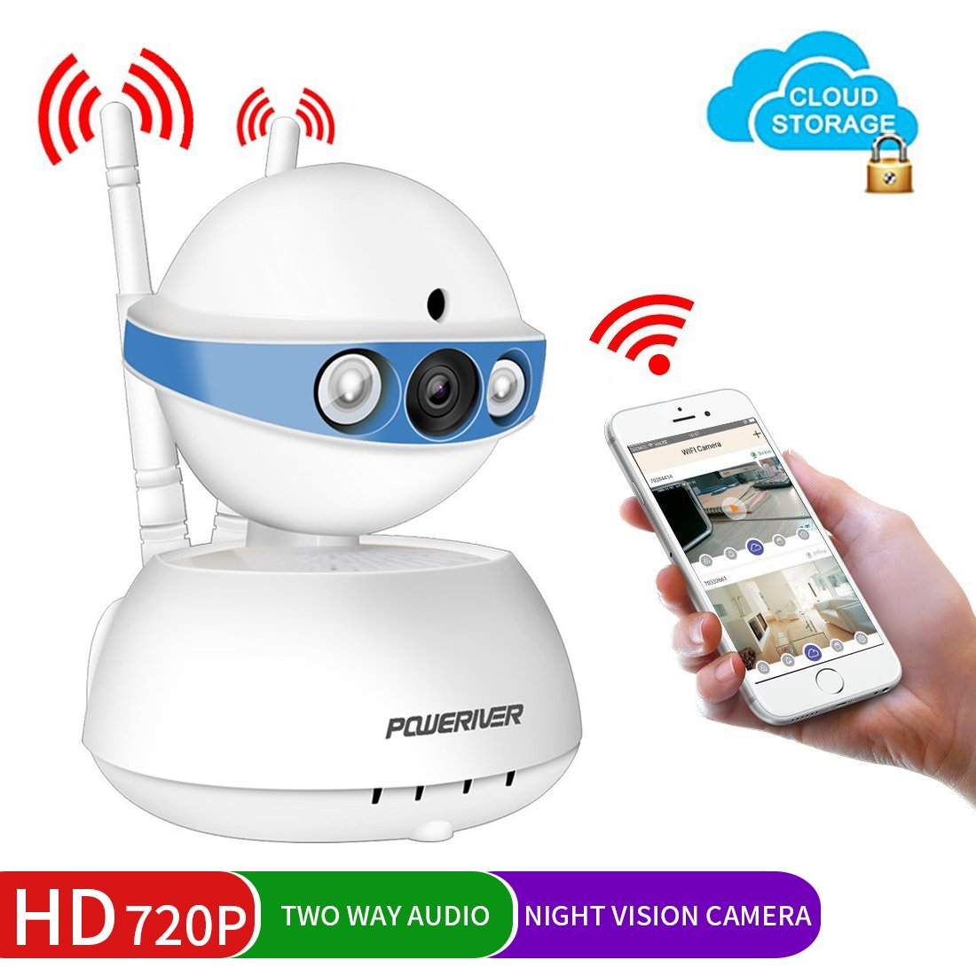 Security Camera,POWERIVER WiFi IP Indoor Security System with Motion Detection, Two-Way Audio & Night Vision for Baby/Pet / Front Porch Monitor, Remote Control with iOS, Android, PC App(Blue)