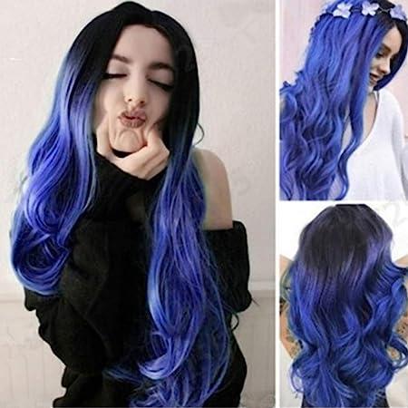 N/ A Peluca Azul con El Conjunto De Pelo Negro Degradado Azul ...