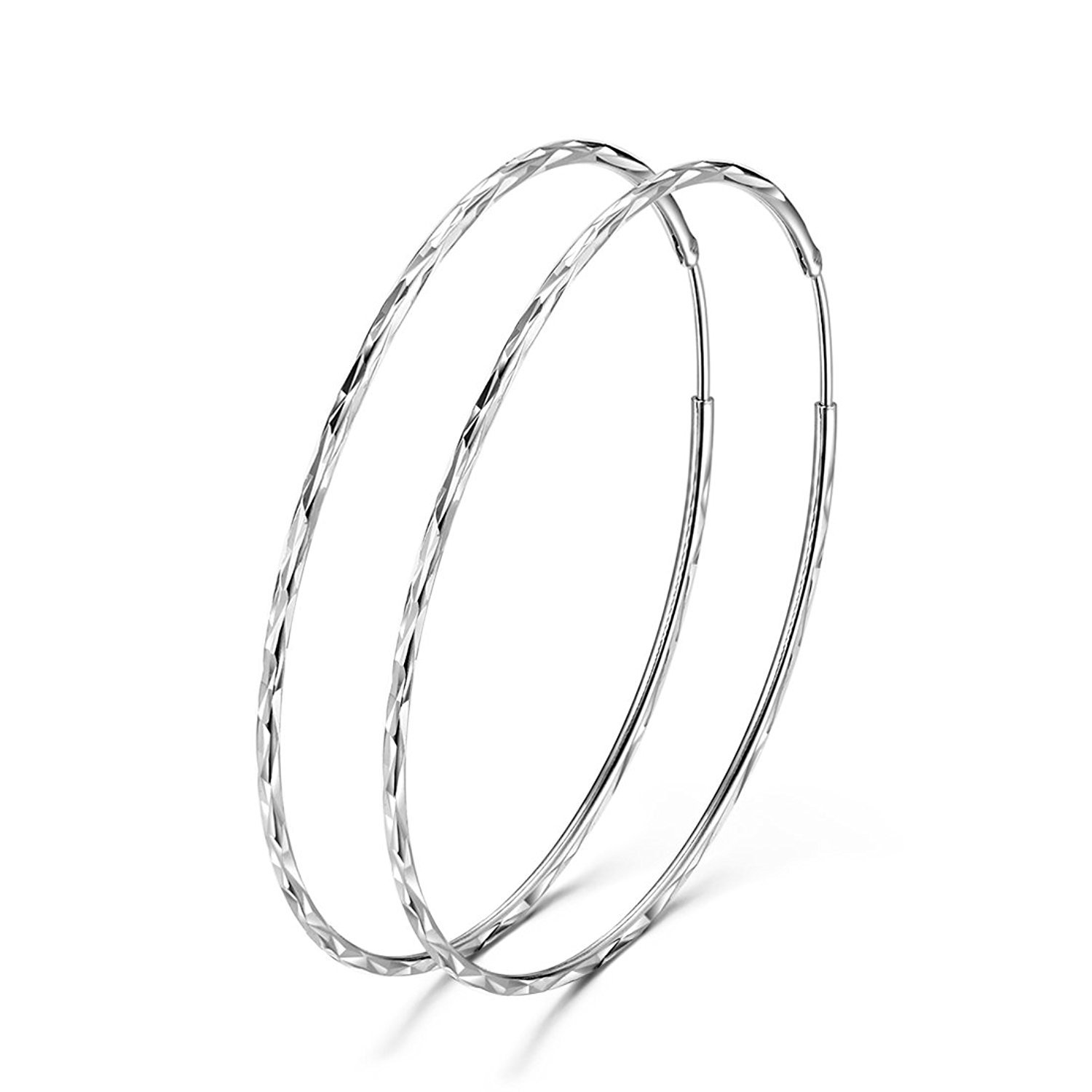 925 Sterling Silver Circle Endless Large Hoop Earrings for Women Girls (60MM Hoop Earrings)