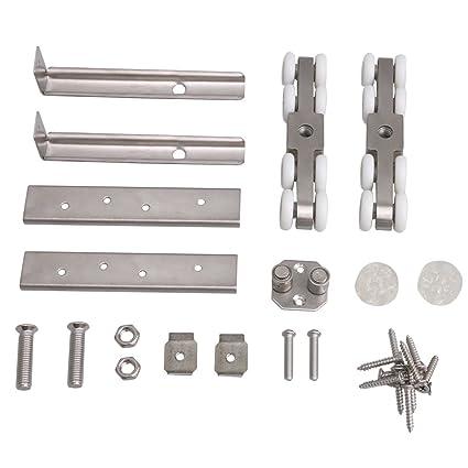 BQLZR - Rodillo de puerta corredera de acero inoxidable plateado de 11,8 x 2