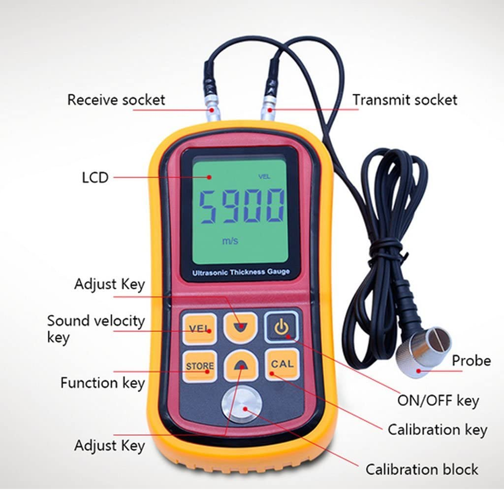 MOZUSA 1~300 mm de Espesor por ultrasonido Medidor de Sonido de Voz Medidor de Velocidad Herramienta de medici/ón Medida de Espesor