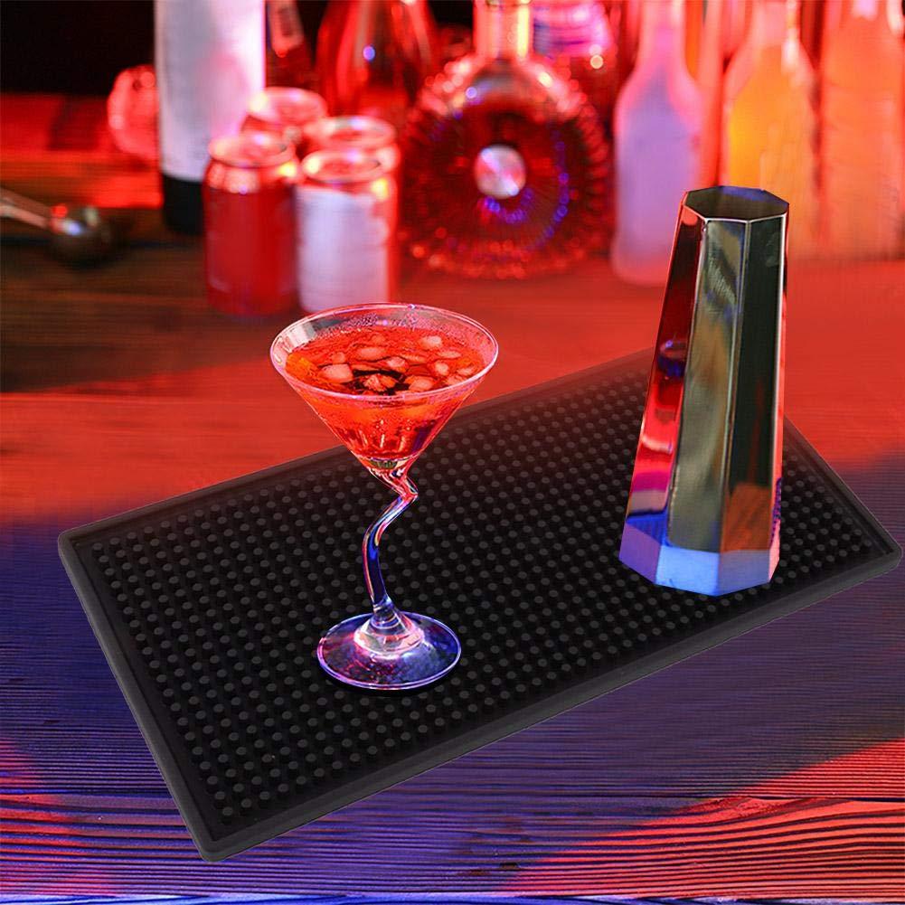 Fditt PVC Sottobicchiere Antivari Stuoia Barra Quadrato Gomma Spessore Tappetino Antiscivolo Tappetini antigoccia Cocktail Tazza t/è Tazza Cucina Impermeabile Servizio Bar Mat #1-Black