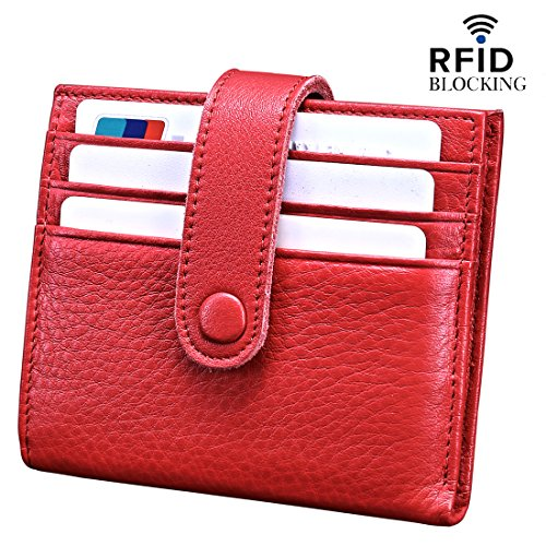 Reeple Women's RFID Blocking Small Compact Bifold Leather Pocket Wallet with ID Window(Red)
