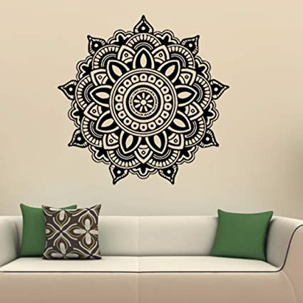 Amazon.com: ZOMUSA Wall Stickers, Mandala Flower Indian Bedroom Wall ...