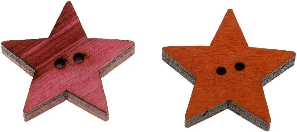 MagiDeal 50 Pieces Rustic Wood Painted Star Shapes Sewing Wooden Buttons for Clothes Decorative Button Crafts Scrapbooking Card Making Crafting 25mm