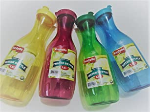 2 Pack - Large Plastic Carafe Pitcher - Acrylic - BPA Free - 36 oz. (1.5 LT.) - Premium Quality - For Juice - Water - Wine - Iced Tea - Random Colors Shipped
