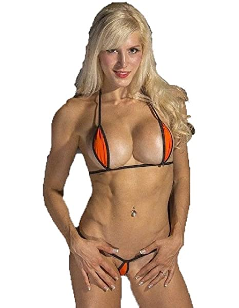 4efa3a3e6 Amazon.com: Bitsy's Bikinis Orange w/Black Sexy Mini Teardrop Bikini 2pc Micro  G-String Exotic Extreme Hot: Clothing