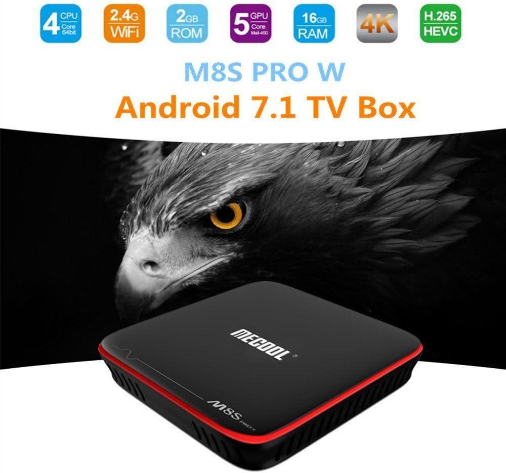 MeCool M8s Pro W Android 7.1 Smart TV Box s905 W 2 GB/16 GB TV Box Quad Core WiFi LAN HD OTA actualización multilanguages: Amazon.es: Electrónica