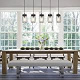 LNC A02983 Adjustable Mason Jar Kitchen Island Lighting Multi-Pendant Chandelier Wood Canopy, Brown