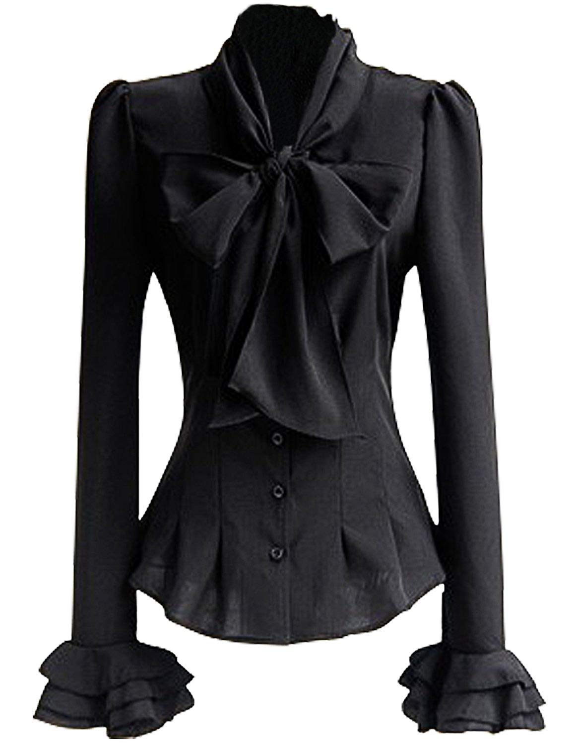 Color Eletina Shirt Women 50s Retro Silky Bow Tie Shirts Ruffle Victoria Blouse Tops and