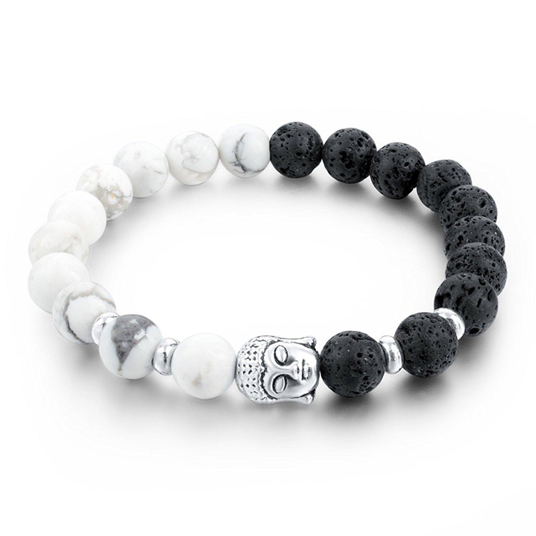 Yellow Chimes D'Vine Buddha Beads Collection Charm Bracelet for Men (Black;White)(YCFJBR-604DVINE-WHBK)