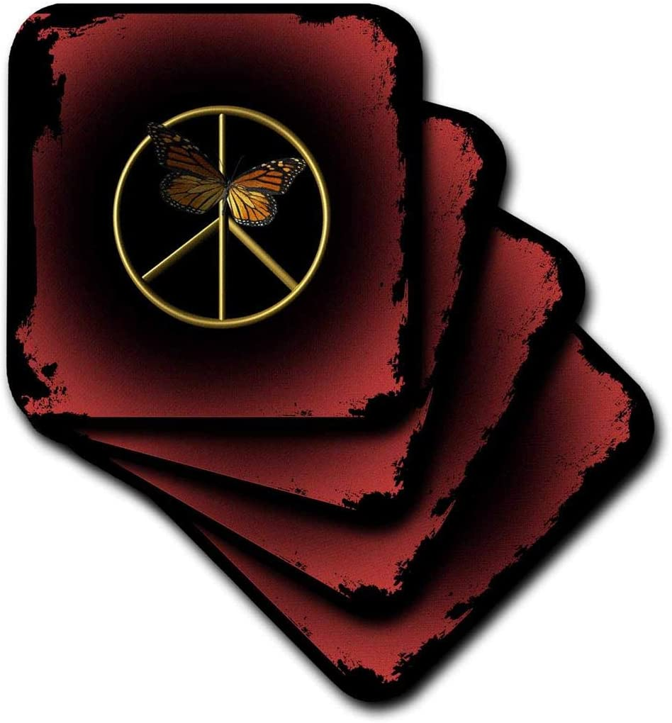 3dRose A Gold Peace Sign with Butterflies - Ceramic Tile Coasters, Set of 4 (CST_63361_3)