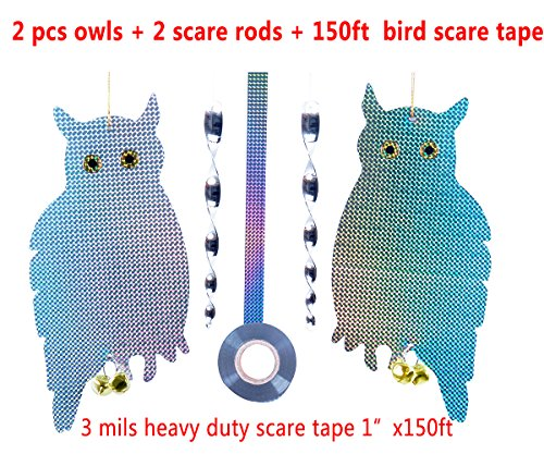 Bird Scare Away Reflective Owl By Loyal -B-Scare,2 pcs 11.8inch silver rods and 1pc of heavy duty bird scare tape used for Garden,Balcony,Window,Village,scare Pigeon,Sparrow,Swallow,Parrot