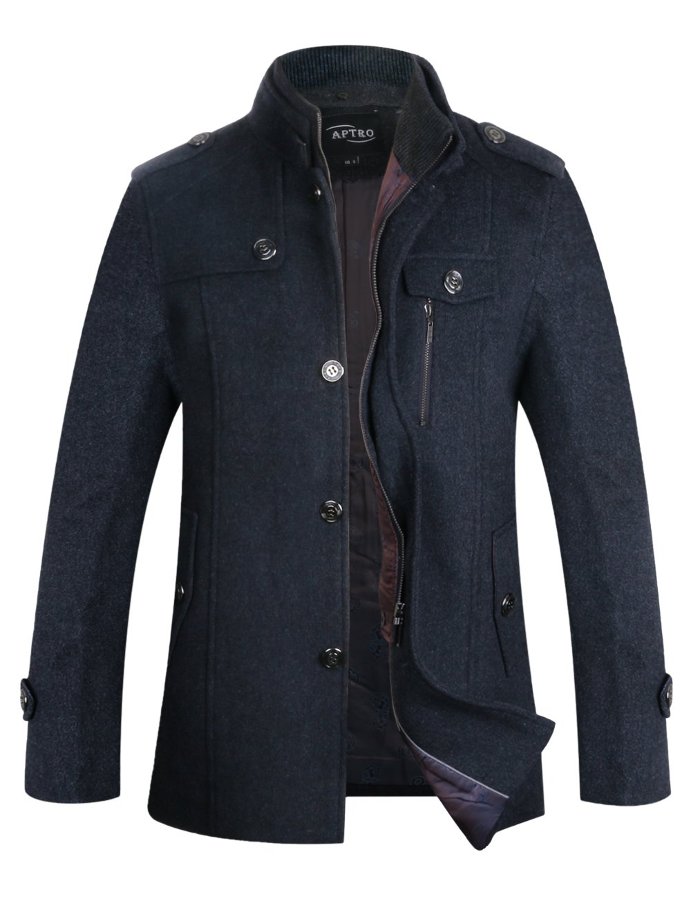 APTRO Men's Winter Wool Coat Single Breasted Wool Trench Coats Fleece Jacket