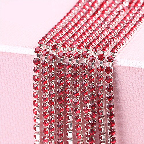 (Riche Red 32.8 Feet Crystal Rhinestone Close Chain 2mm Clear Trim Sewing)