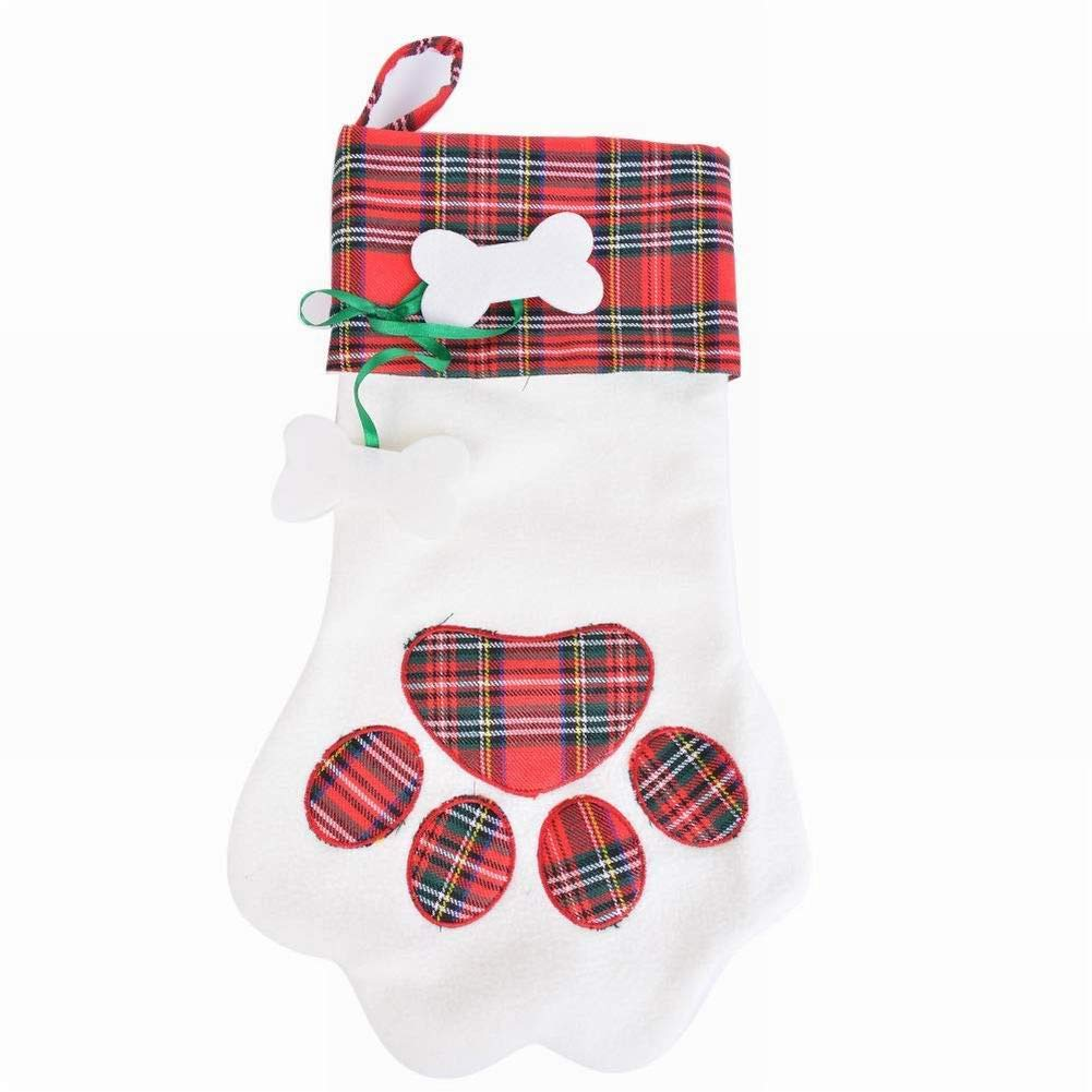 Mioloe Red Christmas Stockings Christmas Decoration Supplies Dog Claw Gift Bag Pendant