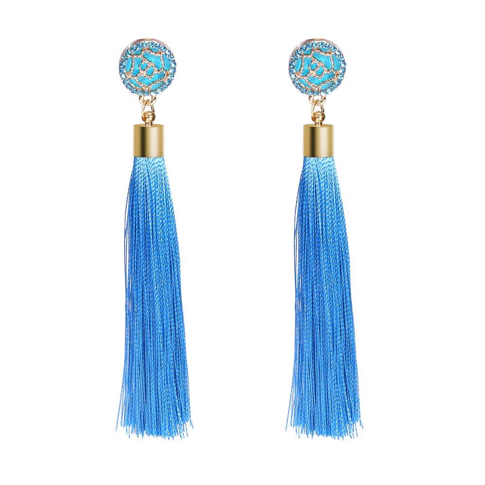 Thread Tassel Dangle Earrings Enjoit Crystal Rose Silk Fringe Thread Drop Earring for Women Girls