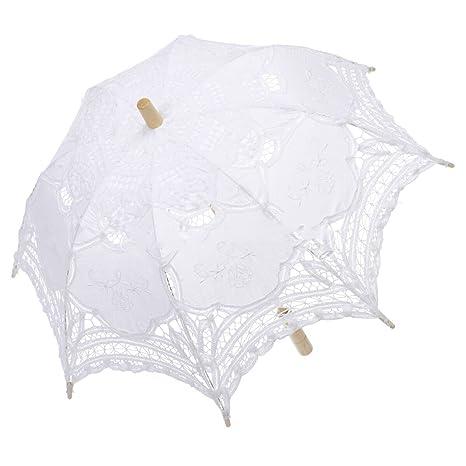 JZK® Blanco vintage retro sombrilla paraguas algodón con puntilla y bordado para novia, boda