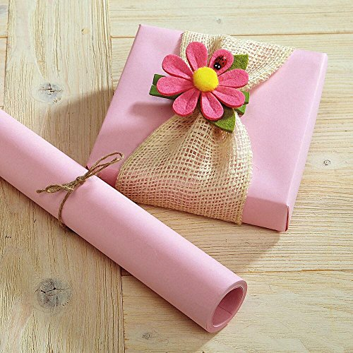 Pastel Pink Kraft Gift Wrap - 38 sq. ft, heavyweight, peak-proof, tear-resistant wrapping paper, Great for Valentine's Day, Easter, Girls' Birthdays, Baby and crafts]()