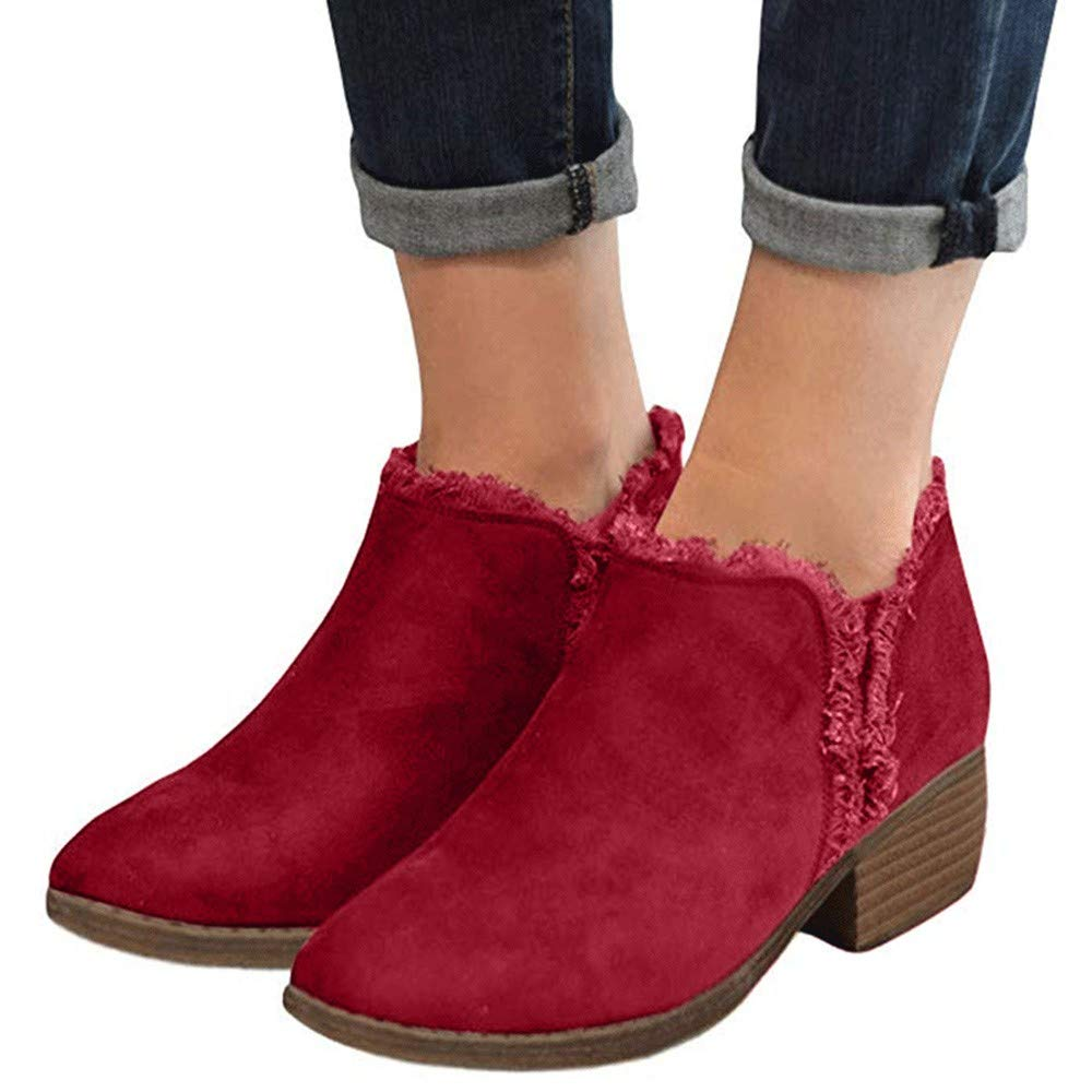 Gyoume Winter Ankle Boots Shoes Women Boots Flat Wedge Boots Shoes Dress Boots Red by Gyoume