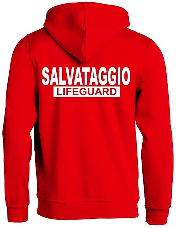 WIXSOO Felpa Salvataggio Lifeguard Cappuccio Uomo (M)