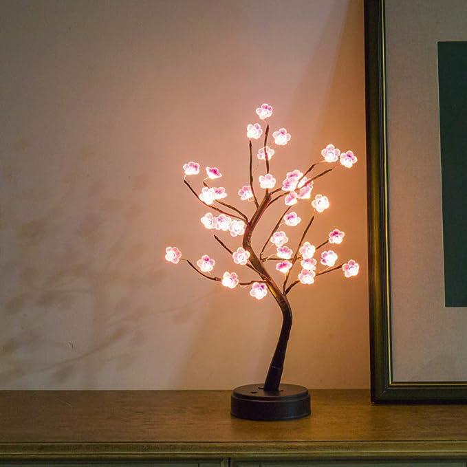 1 Pièces Mini Sakura Blossom Tree Bureau DEL Nuit Lampe Aucune batterie contiennent